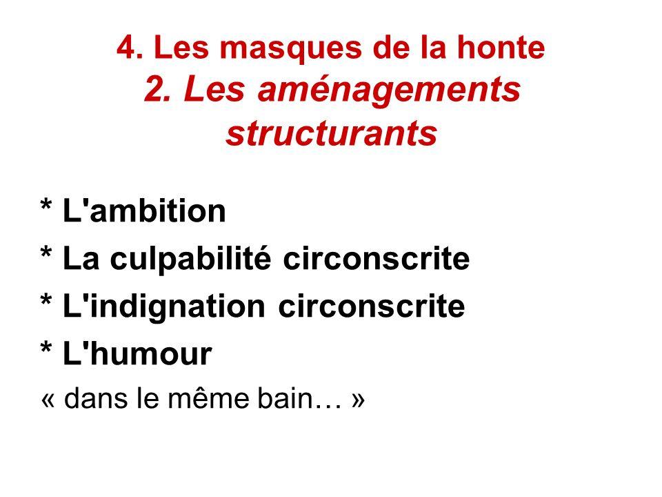 4. Les masques de la honte 2. Les aménagements structurants * L'ambition * La culpabilité circonscrite * L'indignation circonscrite * L'humour « dans