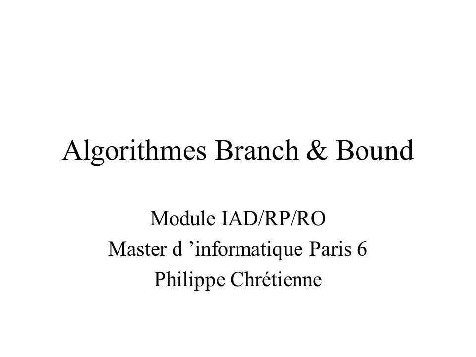 Algorithmes Branch & Bound Module IAD/RP/RO Master d informatique Paris 6 Philippe Chrétienne