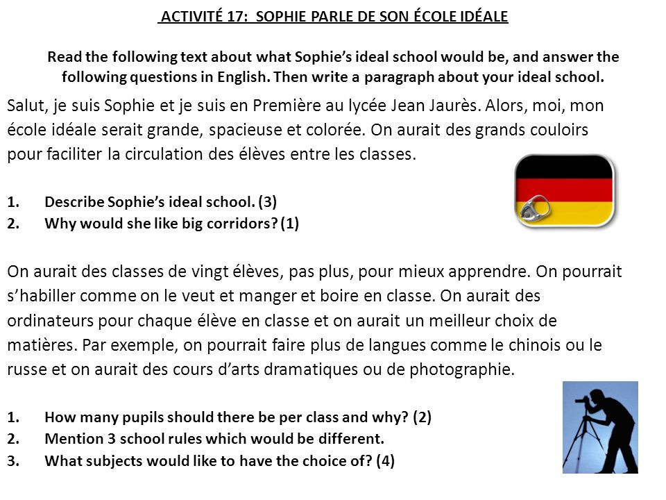 ACTIVITÉ 17: SOPHIE PARLE DE SON ÉCOLE IDÉALE Read the following text about what Sophies ideal school would be, and answer the following questions in