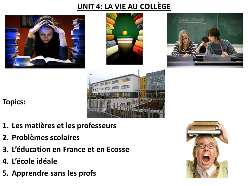 ACTIVITÉ 8: MA VIE AU LYCÉE Read the following texts about teenagers talking about their school experiences and answer the questions in English for each of them.