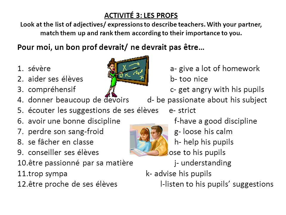 ACTIVITÉ 10: MA ROUTINE Work with a partner: 1- work out the order in which Laurent does these things.