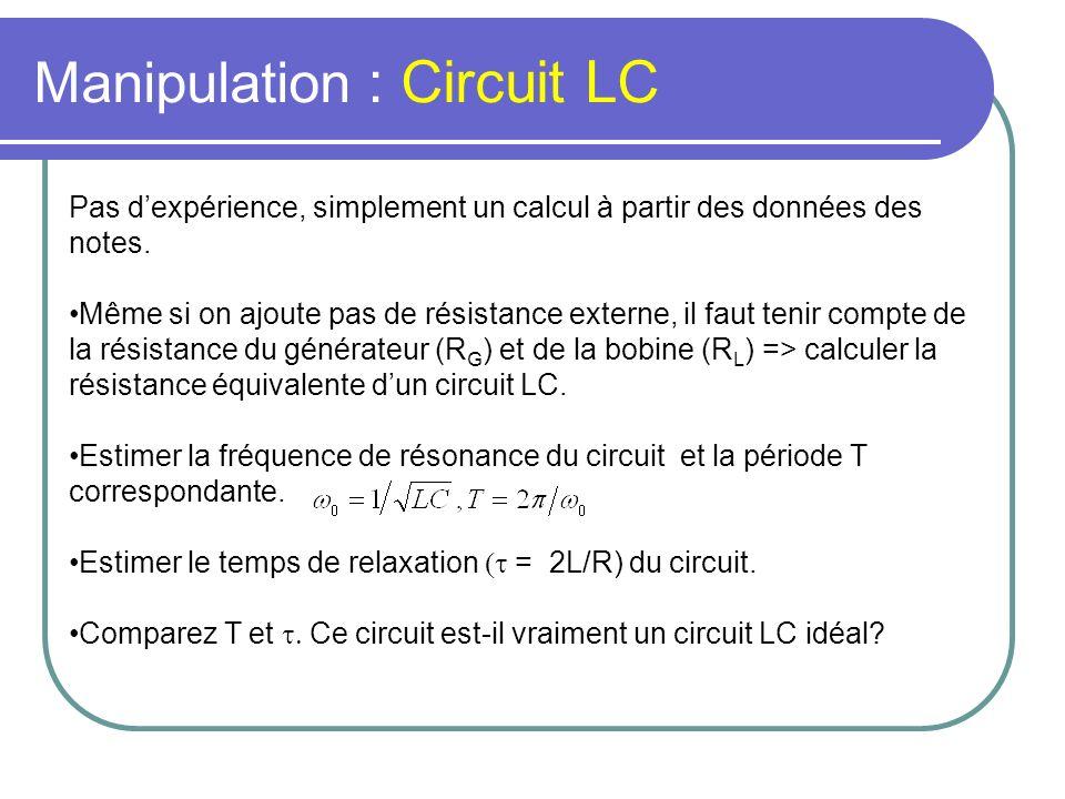Manipulation : Circuit LC Pas dexpérience, simplement un calcul à partir des données des notes. Même si on ajoute pas de résistance externe, il faut t
