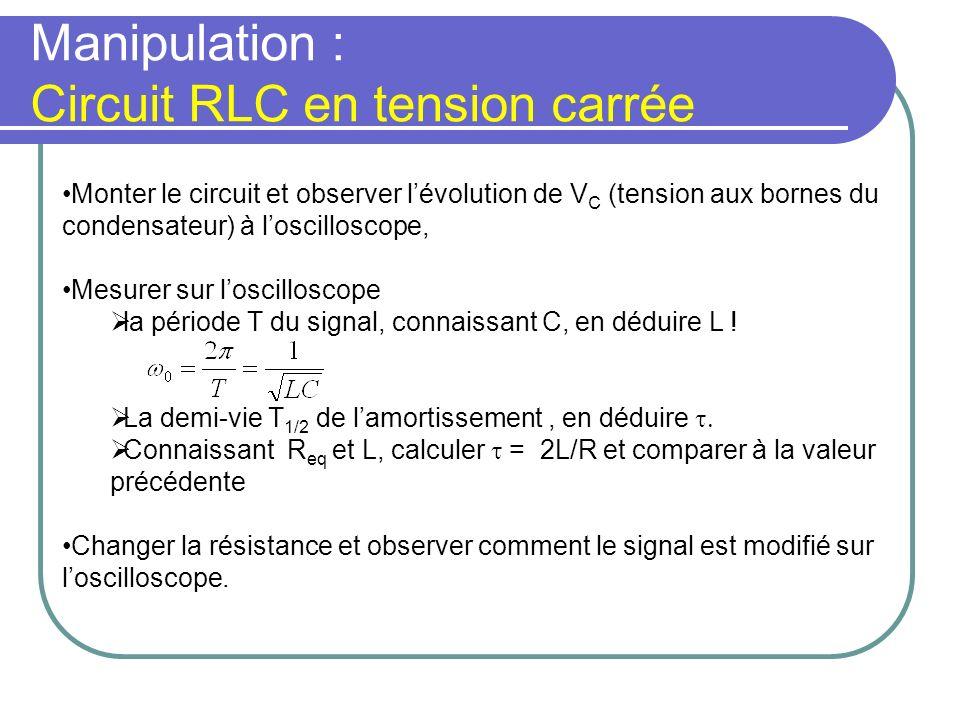 Manipulation : Circuit RLC en tension carrée Monter le circuit et observer lévolution de V C (tension aux bornes du condensateur) à loscilloscope, Mes