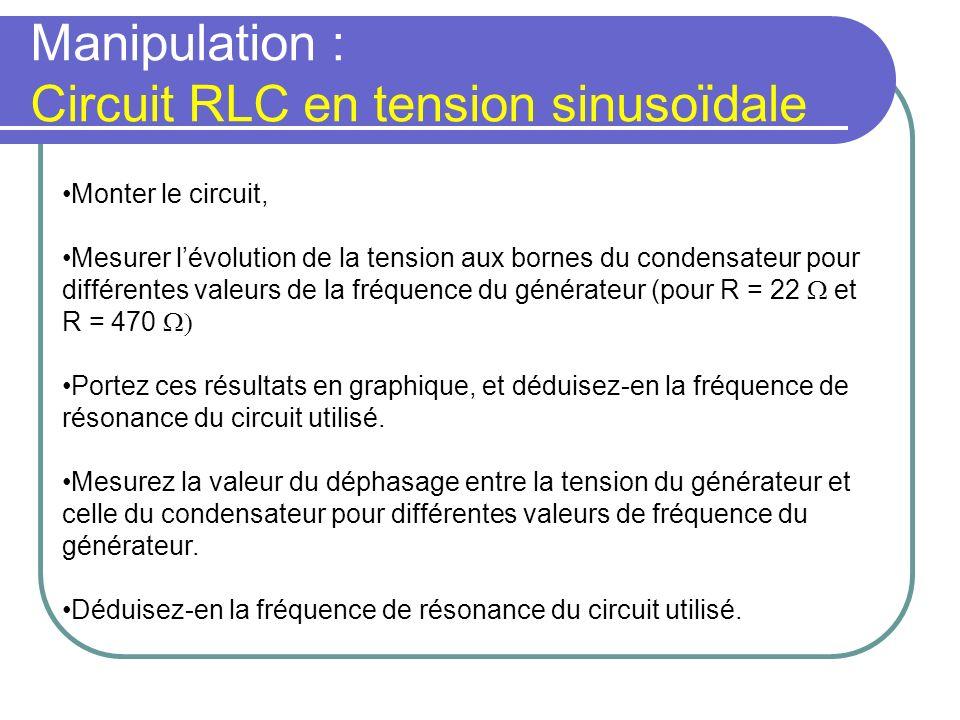 Manipulation : Circuit RLC en tension sinusoïdale Monter le circuit, Mesurer lévolution de la tension aux bornes du condensateur pour différentes vale
