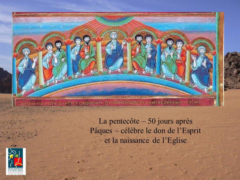 La pentecôte – 50 jours après Pâques – célèbre le don de lEsprit et la naissance de lEglise