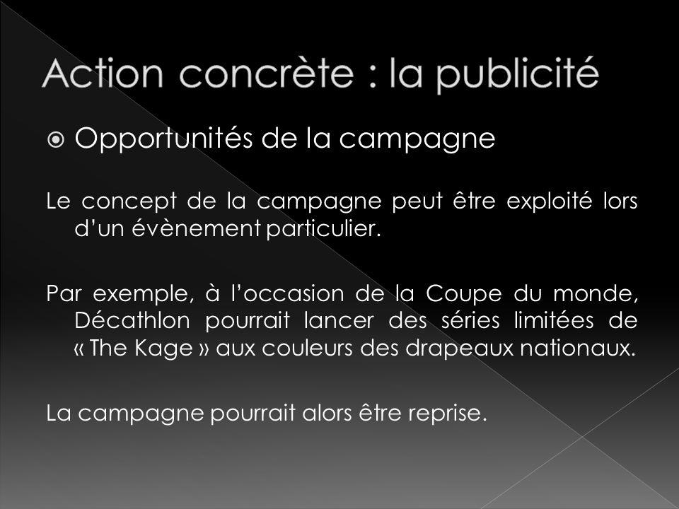 Opportunités de la campagne Le concept de la campagne peut être exploité lors dun évènement particulier. Par exemple, à loccasion de la Coupe du monde