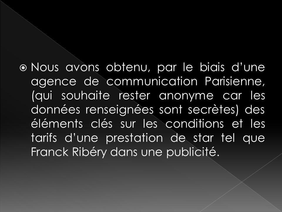 Nous avons obtenu, par le biais dune agence de communication Parisienne, (qui souhaite rester anonyme car les données renseignées sont secrètes) des é