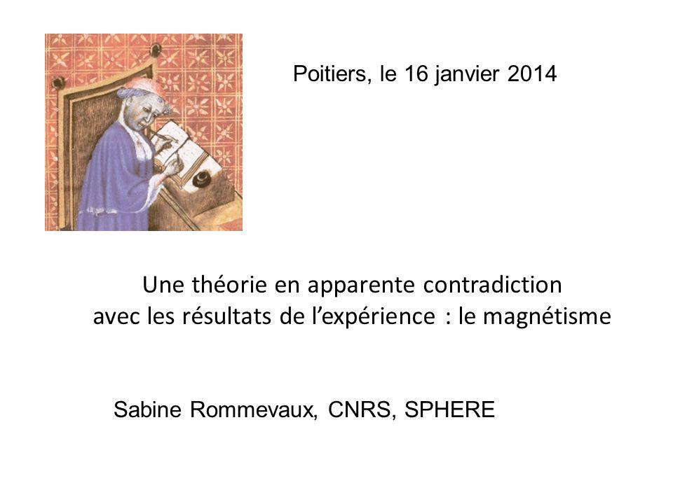 Une théorie en apparente contradiction avec les résultats de lexpérience : le magnétisme Sabine Rommevaux, CNRS, SPHERE Poitiers, le 16 janvier 2014