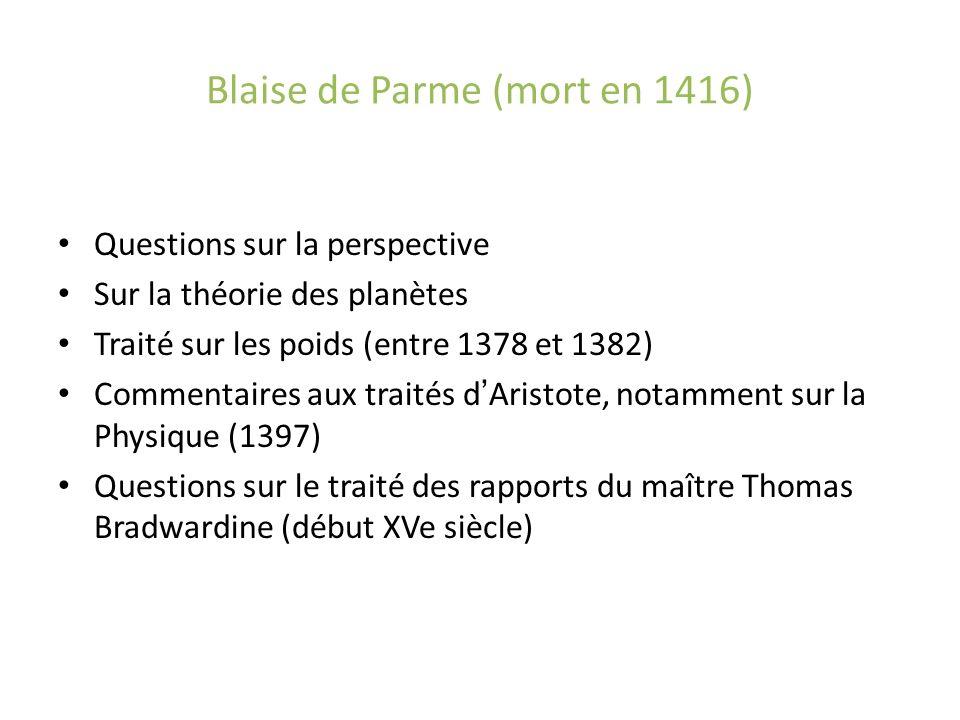 Blaise de Parme (mort en 1416) Questions sur la perspective Sur la théorie des planètes Traité sur les poids (entre 1378 et 1382) Commentaires aux tra