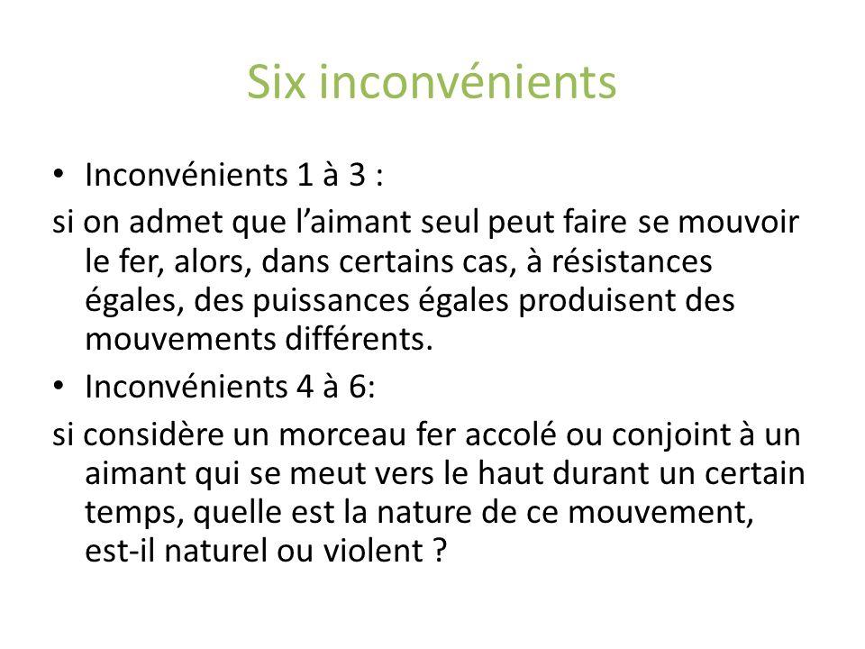 Six inconvénients Inconvénients 1 à 3 : si on admet que laimant seul peut faire se mouvoir le fer, alors, dans certains cas, à résistances égales, des