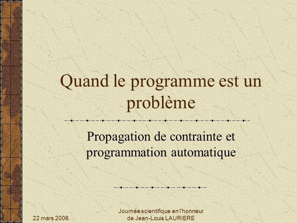 22 mars 2006 Journée scientifique en l honneur de Jean-Louis LAURIERE Propagation de contrainte et programmation automatique PLAN Quelques mots dALICE Son extension : RABBIT