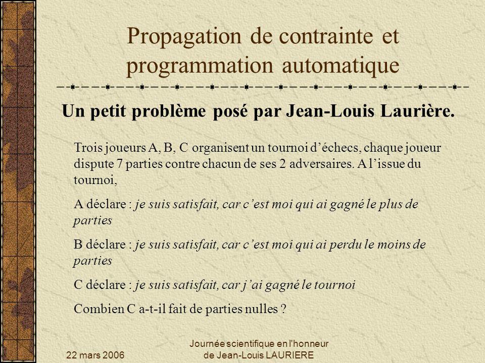 22 mars 2006 Journée scientifique en l'honneur de Jean-Louis LAURIERE Propagation de contrainte et programmation automatique Un petit problème posé pa