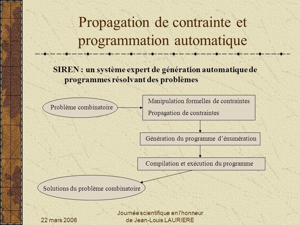 22 mars 2006 Journée scientifique en l'honneur de Jean-Louis LAURIERE Propagation de contrainte et programmation automatique SIREN : un système expert