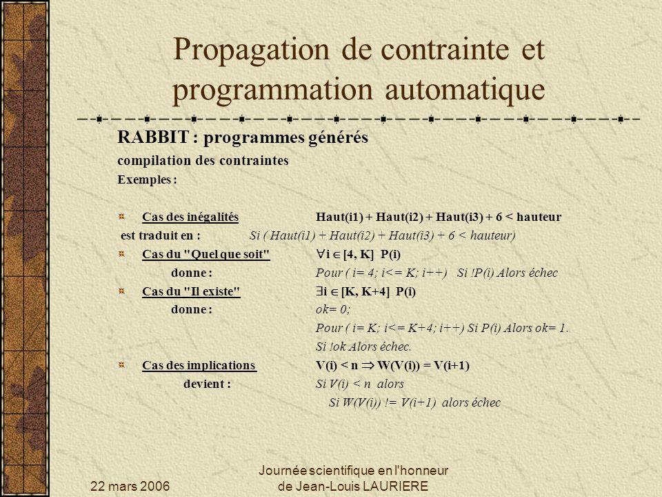 22 mars 2006 Journée scientifique en l'honneur de Jean-Louis LAURIERE Propagation de contrainte et programmation automatique RABBIT : programmes génér