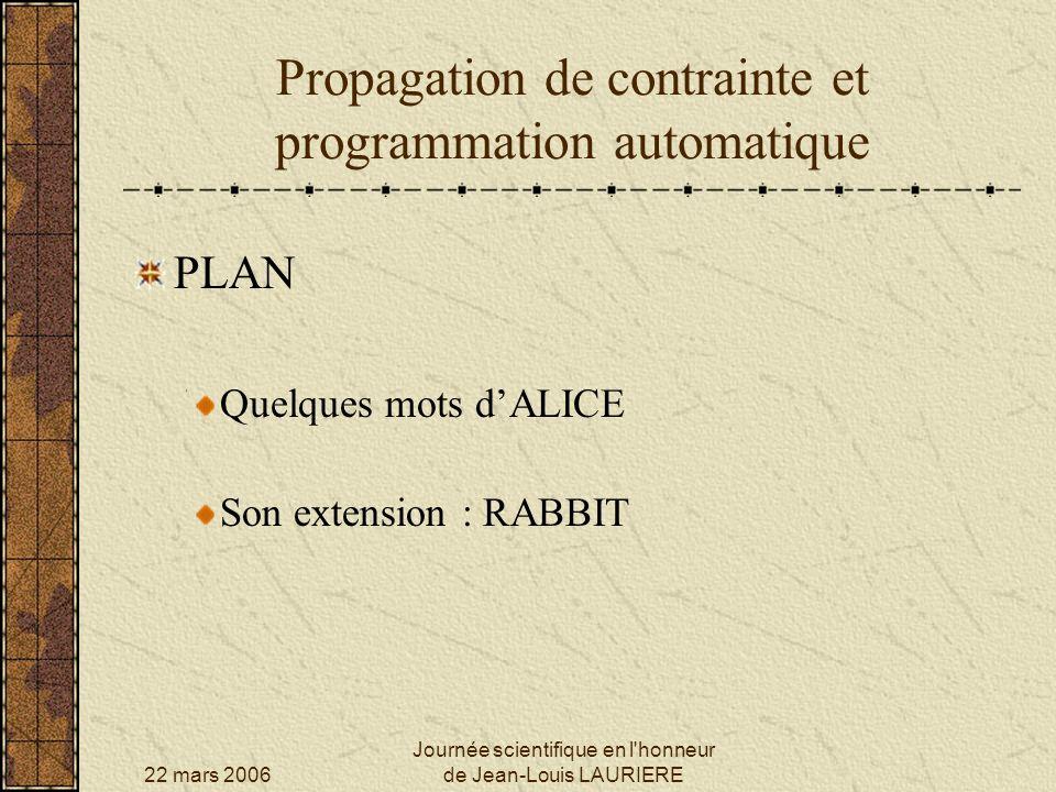 22 mars 2006 Journée scientifique en l honneur de Jean-Louis LAURIERE Propagation de contrainte et programmation automatique SIREN : structure des programmes générés pour toute valeur de GAB pour toute valeur de NAB si (GAB + NAB) 7 alors pour toute valeur de GBC pour toute valeur de NBC si (GAB + NAB) 7 alors etc.