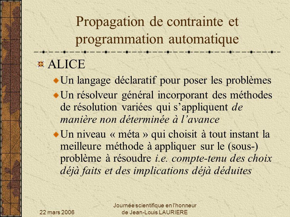 22 mars 2006 Journée scientifique en l honneur de Jean-Louis LAURIERE Propagation de contrainte et programmation automatique ALICE, un exemple : trouver les solutions entières positives de léquation :x 3 + 119 = 66 x Tout dabord, on déduit : x 3 < 66 x i.e.