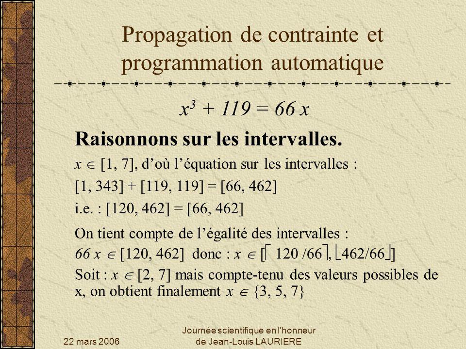 22 mars 2006 Journée scientifique en l honneur de Jean-Louis LAURIERE Propagation de contrainte et programmation automatique x 3 + 119 = 66 x Raisonnons encore sur les intervalles.