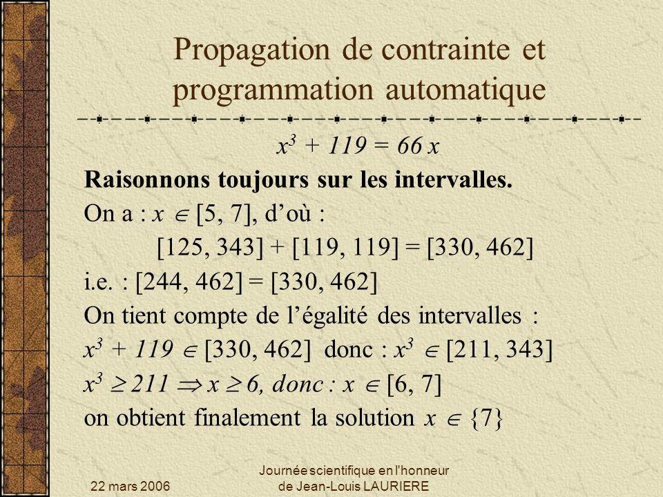 22 mars 2006 Journée scientifique en l honneur de Jean-Louis LAURIERE Propagation de contrainte et programmation automatique x 3 + 119 = 66 x Résolution par RABBIT.