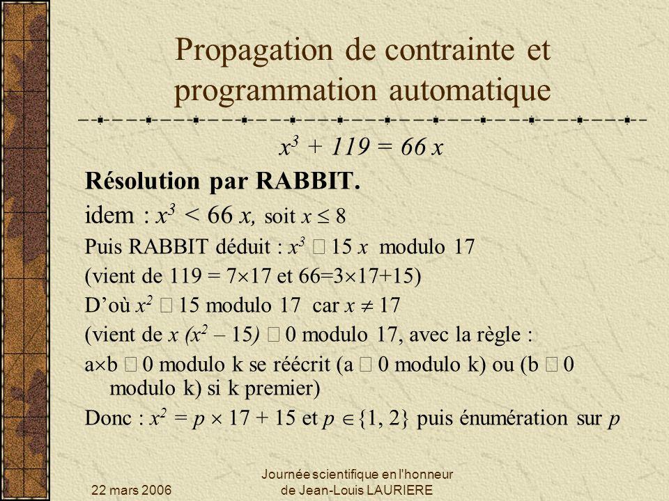 22 mars 2006 Journée scientifique en l'honneur de Jean-Louis LAURIERE Propagation de contrainte et programmation automatique x 3 + 119 = 66 x Résoluti