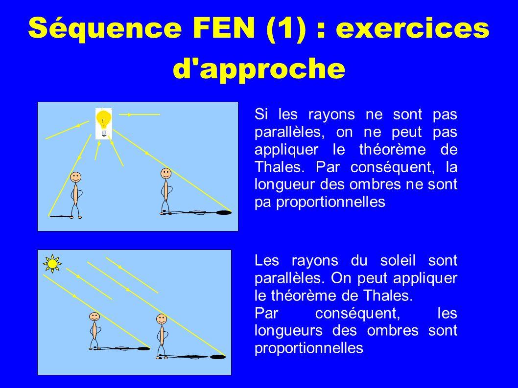 Séquence FEN (1) : exercices d'approche Si les rayons ne sont pas parallèles, on ne peut pas appliquer le théorème de Thales. Par conséquent, la longu