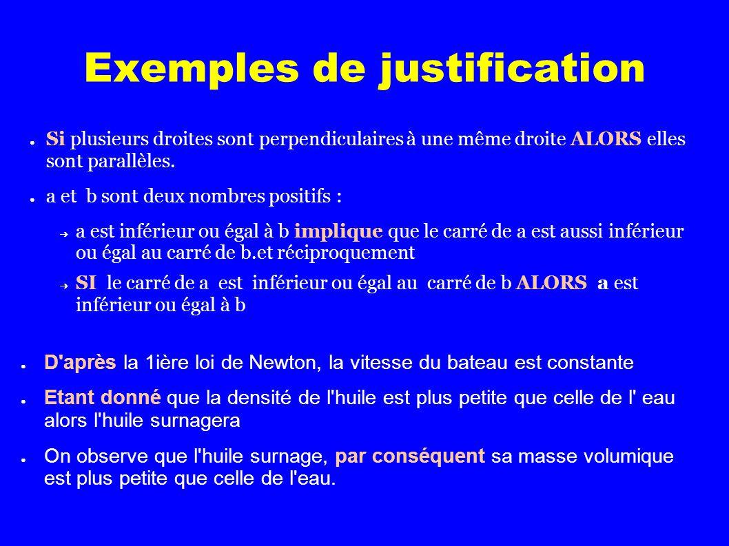 Exemples de justification Si plusieurs droites sont perpendiculaires à une même droite ALORS elles sont parallèles.