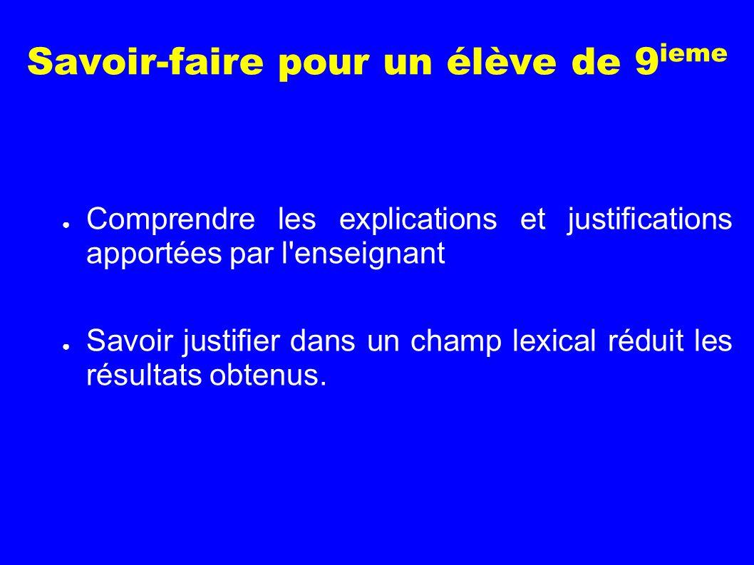 Savoir-faire pour un élève de 9 ieme Comprendre les explications et justifications apportées par l'enseignant Savoir justifier dans un champ lexical r