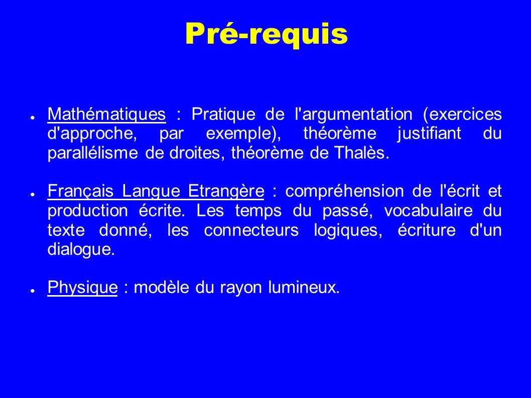 Pré-requis Mathématiques : Pratique de l'argumentation (exercices d'approche, par exemple), théorème justifiant du parallélisme de droites, théorème d