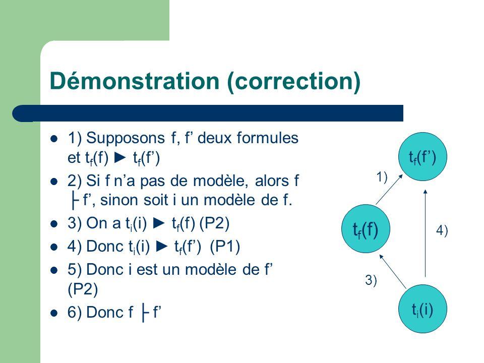 Démonstration (correction) 1) Supposons f, f deux formules et t f (f) t f (f) 2) Si f na pas de modèle, alors f f, sinon soit i un modèle de f. 3) On
