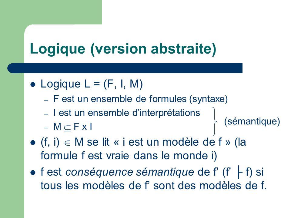 Logique (version abstraite) Logique L = (F, I, M) – F est un ensemble de formules (syntaxe) – I est un ensemble dinterprétations – M F x I (f, i) M se