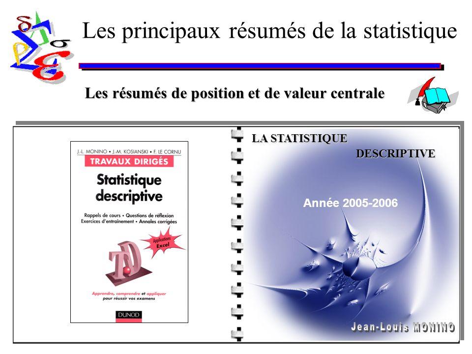 Les principaux résumés de la statistique Les résumés de position et de valeur centrale DESCRIPTIVE Année 2005-2006 LA STATISTIQUE