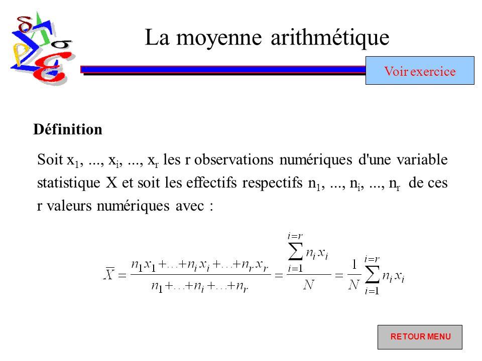 La moyenne arithmétique Soit x 1,..., x i,..., x r les r observations numériques d une variable statistique X et soit les effectifs respectifs n 1,..., n i,..., n r de ces r valeurs numériques avec : Définition RETOUR MENU RETOUR MENU Voir exercice Voir exercice