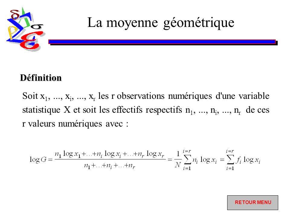 La moyenne géométrique Soit x 1,..., x i,..., x r les r observations numériques d une variable statistique X et soit les effectifs respectifs n 1,..., n i,..., n r de ces r valeurs numériques avec : Définition RETOUR MENU RETOUR MENU