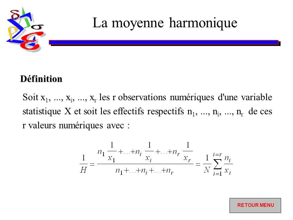 La moyenne harmonique Soit x 1,..., x i,..., x r les r observations numériques d une variable statistique X et soit les effectifs respectifs n 1,..., n i,..., n r de ces r valeurs numériques avec : Définition RETOUR MENU RETOUR MENU