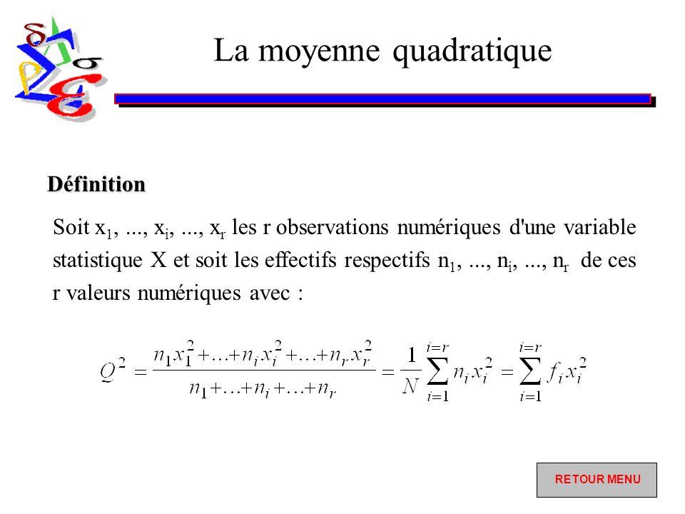 La moyenne quadratique Soit x 1,..., x i,..., x r les r observations numériques d une variable statistique X et soit les effectifs respectifs n 1,..., n i,..., n r de ces r valeurs numériques avec : Définition RETOUR MENU RETOUR MENU