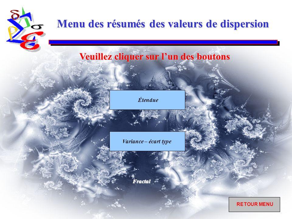 Menu des résumés des valeurs de dispersion Étendue Variance – écart type Veuillez cliquer sur lun des boutons RETOUR MENU RETOUR MENUFractal