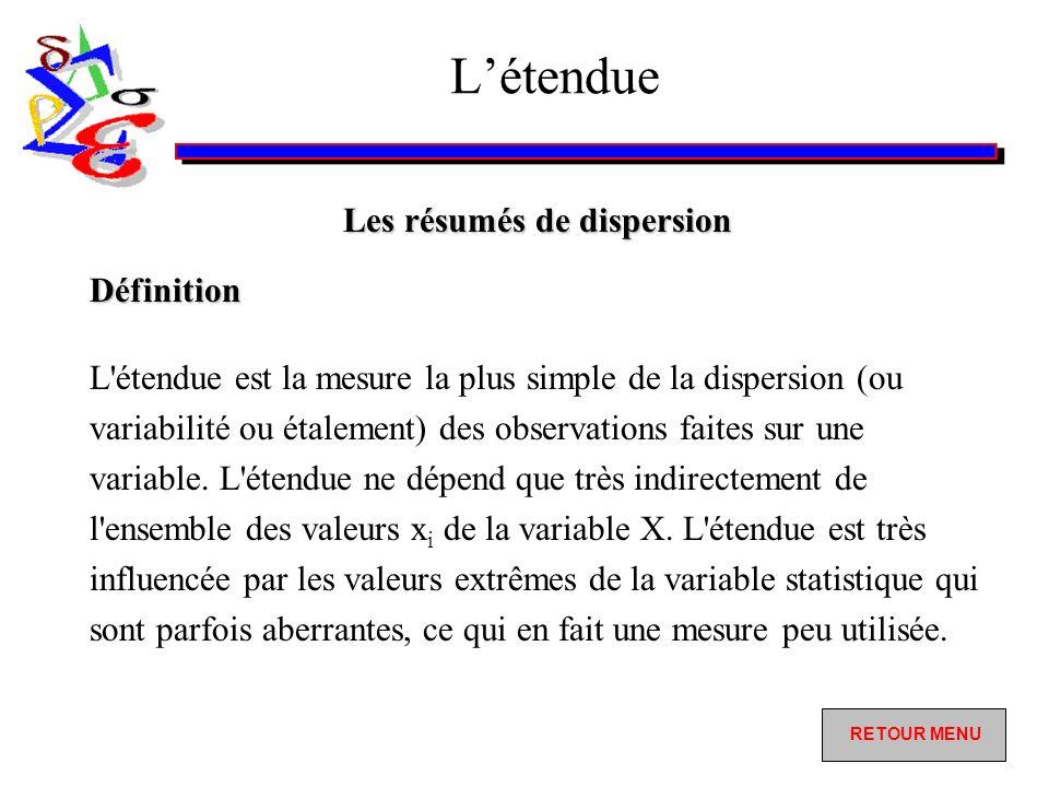 Létendue Les résumés de dispersion L étendue est la mesure la plus simple de la dispersion (ou variabilité ou étalement) des observations faites sur une variable.