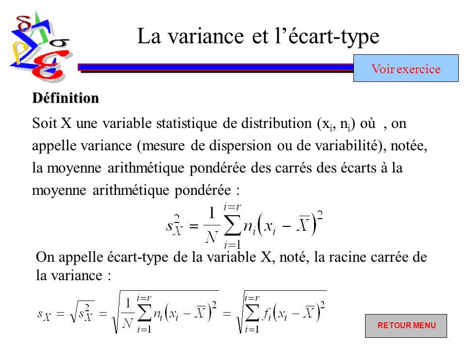 La variance et lécart-type Définition Soit X une variable statistique de distribution (x i, n i ) où, on appelle variance (mesure de dispersion ou de variabilité), notée, la moyenne arithmétique pondérée des carrés des écarts à la moyenne arithmétique pondérée : On appelle écart-type de la variable X, noté, la racine carrée de la variance : Voir exercice Voir exercice RETOUR MENU RETOUR MENU