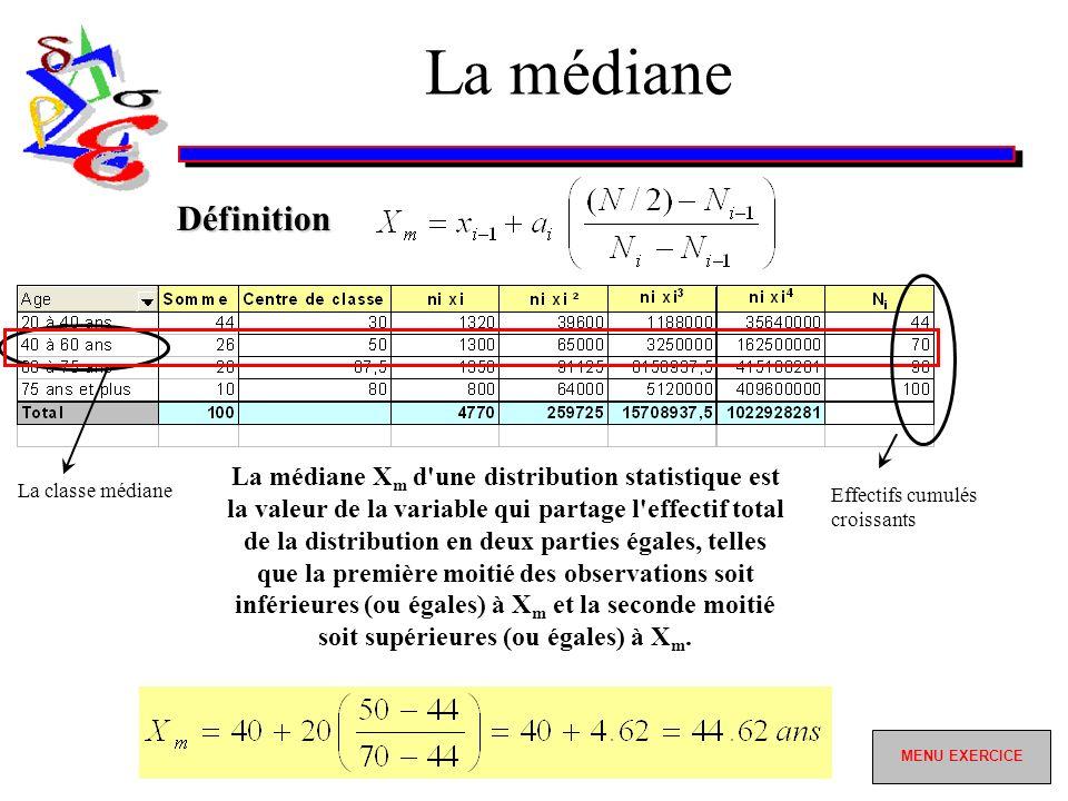 La médiane La classe médiane La médiane X m d une distribution statistique est la valeur de la variable qui partage l effectif total de la distribution en deux parties égales, telles que la première moitié des observations soit inférieures (ou égales) à X m et la seconde moitié soit supérieures (ou égales) à X m.
