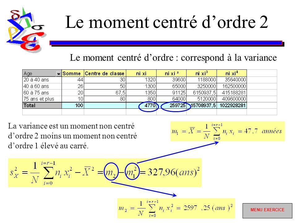 Le moment centré dordre 2 Le moment centré dordre : correspond à la variance La variance est un moment non centré dordre 2 moins un moment non centré dordre 1 élevé au carré.
