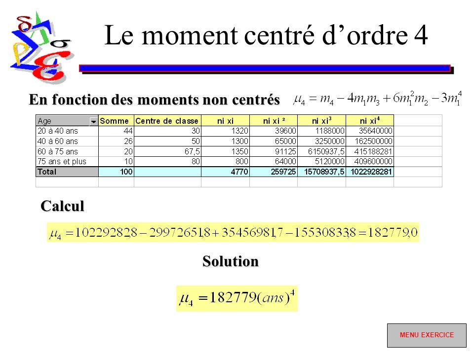 Le moment centré dordre 4 En fonction des moments non centrés Calcul Solution MENU EXERCICE