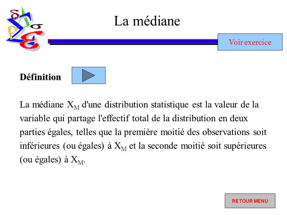 La médiane La médiane X M d une distribution statistique est la valeur de la variable qui partage l effectif total de la distribution en deux parties égales, telles que la première moitié des observations soit inférieures (ou égales) à X M et la seconde moitié soit supérieures (ou égales) à X M.