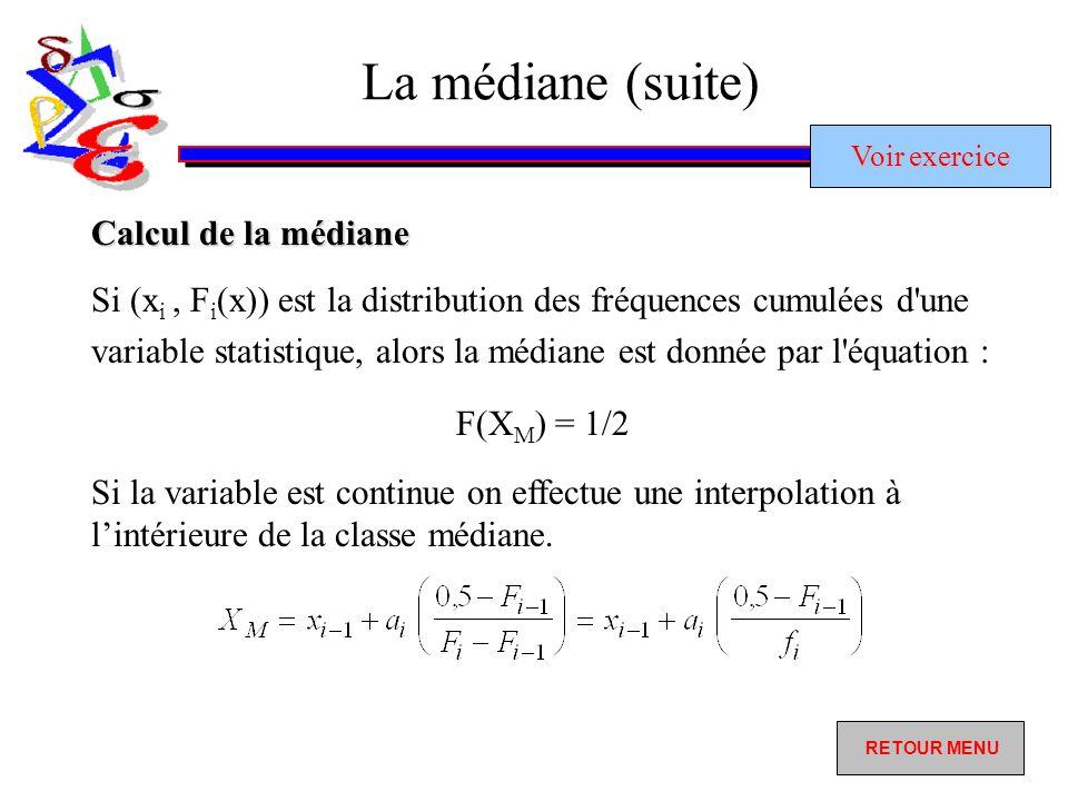 La médiane (suite) Si (x i, F i (x)) est la distribution des fréquences cumulées d une variable statistique, alors la médiane est donnée par l équation : F(X M ) = 1/2 Si la variable est continue on effectue une interpolation à lintérieure de la classe médiane.