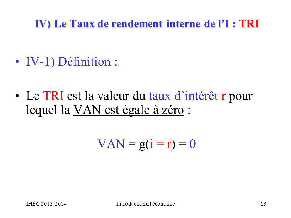 IV) Le Taux de rendement interne de lI : TRI IV-1) Définition : Le TRI est la valeur du taux dintérêt r pour lequel la VAN est égale à zéro : VAN = g(