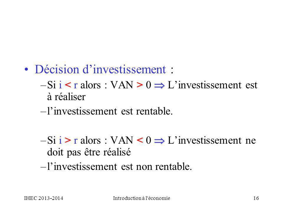 Décision dinvestissement : <> –Si i 0 Linvestissement est à réaliser –linvestissement est rentable. > r alors : VAN < 0 Linvestissement ne doit pas êt