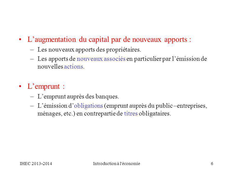 Laugmentation du capital par de nouveaux apports : –Les nouveaux apports des propriétaires. –Les apports de nouveaux associés en particulier par lémis