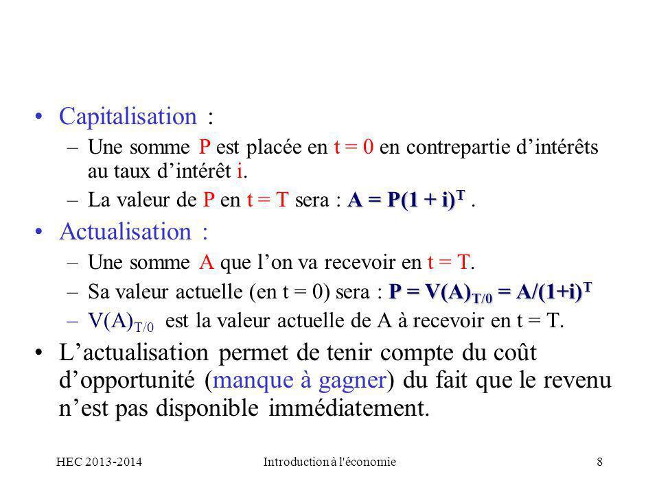 Capitalisation : –Une somme P est placée en t = 0 en contrepartie dintérêts au taux dintérêt i. A = P(1 + i) T –La valeur de P en t = T sera : A = P(1