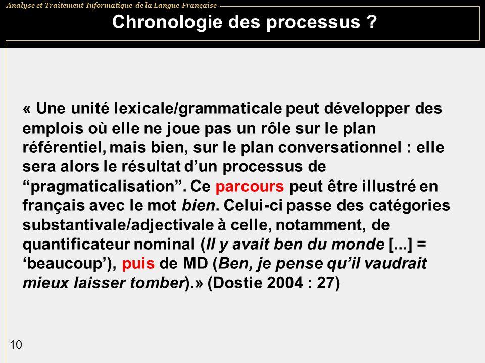 Analyse et Traitement Informatique de la Langue Française 10 Chronologie des processus .