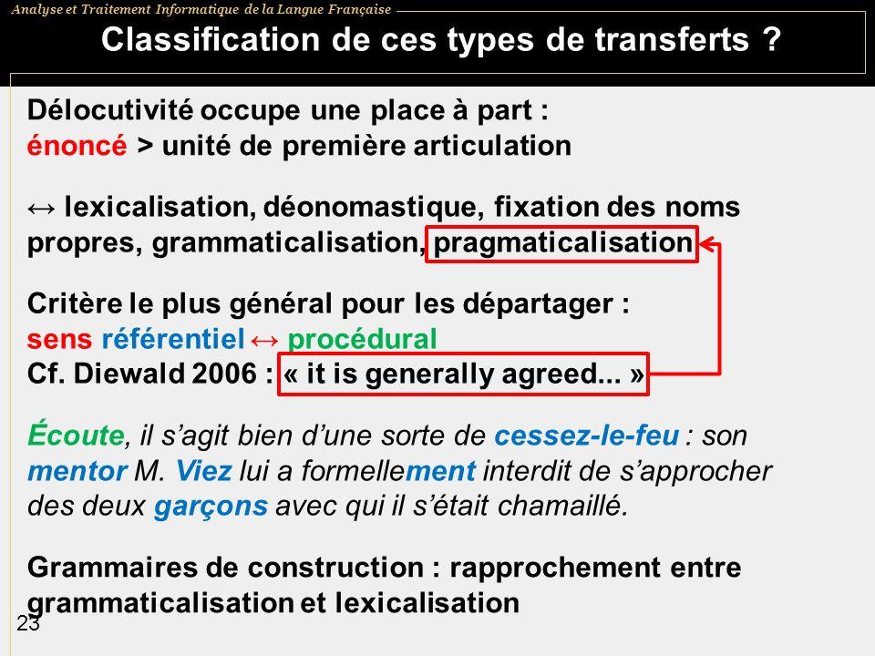 Analyse et Traitement Informatique de la Langue Française 23 Classification de ces types de transferts .