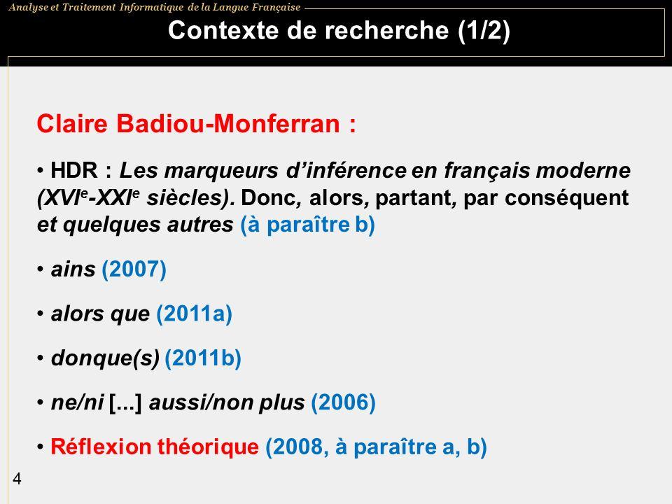 Analyse et Traitement Informatique de la Langue Française 25 En guise de conclusion Cest le point de vue qui crée les objets......