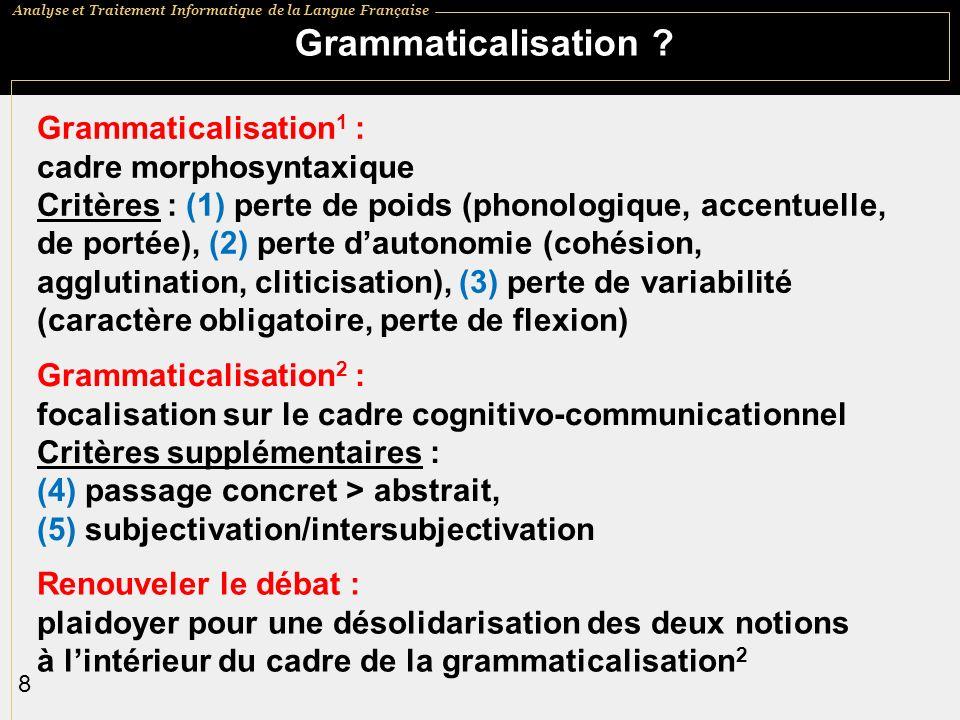 Analyse et Traitement Informatique de la Langue Française 8 Grammaticalisation .